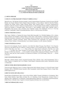 Ders İçerikleri - Kafkas Üniversitesi