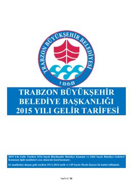 2015 Gelir Tarifesi - Trabzon Belediyesi