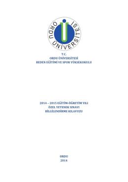 tc ordu üniversitesi beden eğitimi ve spor yüksekokulu 2014