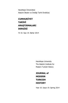 Dergi için... - CTAD:Cumhuriyet Tarihi Araştırmaları Dergisi