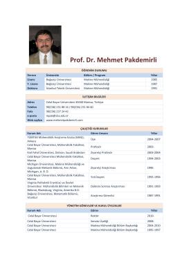 Prof. Dr. Mehmet Pakdemirli