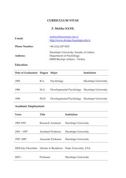 Curriculum Vitae (*) - Hacettepe Üniversitesi