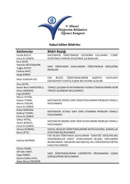 Kabul Edilen Bildiriler Katılımcılar Bildiri Başlığı