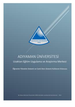 ADIYAMAN ÜNİVERSİTESİ - Uzaktan Eğitim Merkezi