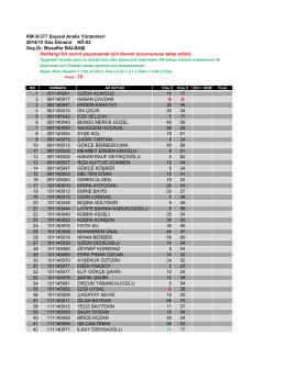 KM-36 377 Sayısal Analiz Yöntemleri 2014/15 Göz Dönemi NÖ