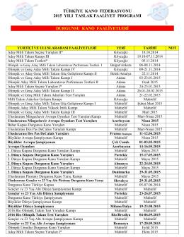 2015 Yılı Faaliyet Programı