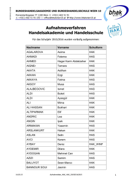 Aufnahmeliste HAK/HAS - BHAK und BHAS Wien 10