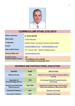 CURRICULUM VITAE (CV)-2015