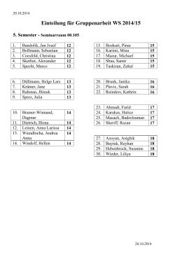 Teilnehmerliste WS 2014/15