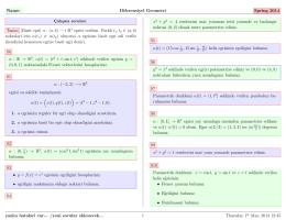 Name: Diferensiyel Geometri Spring 2014 Tanim [Basit egri] α : (a, b