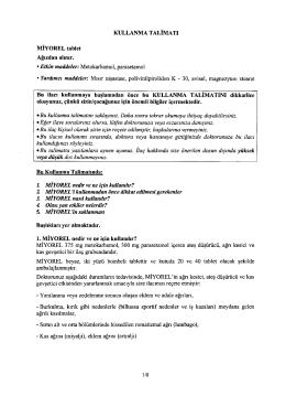 KULLANMA TALiMATI MiYOREL tablet Ag1zdan ahmr. • Etkin