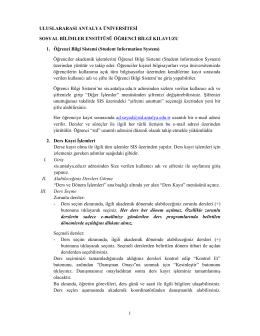 öğrenci bilgi kılavuzu - Uluslararası Antalya Üniversitesi
