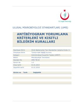 Antibiyogram yorumlama kriterleri ve kısıtlı bildirim kuralları