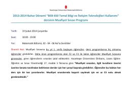 """2013-2014 Bahar Dönemi """"BEB 650 Temel Bilgi ve İletişim"""