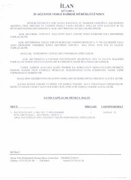 03.03.2015 Tarihinde yapılacak satış ilanı