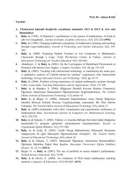 Yayınlar - 1. Türk Bilgisayar ve Matematik Eğitimi Sempozyumu
