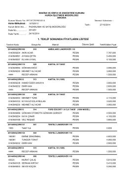 24.10.2014 araç ihalesi teklif sonuçları
