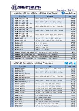 AC Servo Motor ve Sürücü Fiyat Listesi