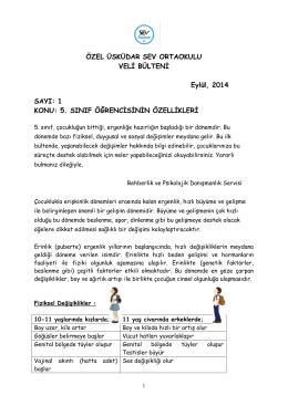 5. Sınıf Çocuklarının Özellikleri - Özel Üsküdar SEV İlköğretim Okulu