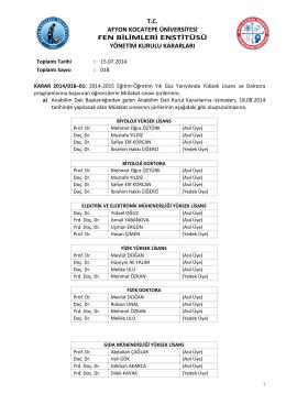karar 2014/018 - Afyon Kocatepe Üniversitesi