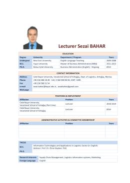 Lecturer Sezai BAHAR Logistics CV