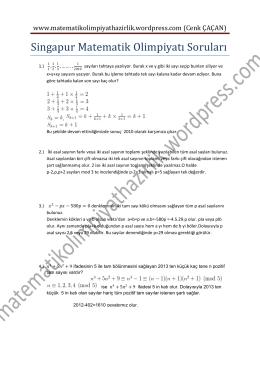 Singapur Matematik Olimpiyatı Soruları 1 Çözümler