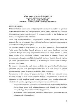 türk hava kurumu üniversitesi sosyal bilimler enstitüsü işletme
