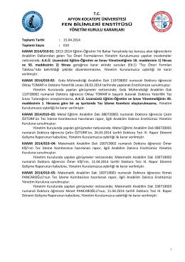 karar 2014/010 - Afyon Kocatepe Üniversitesi