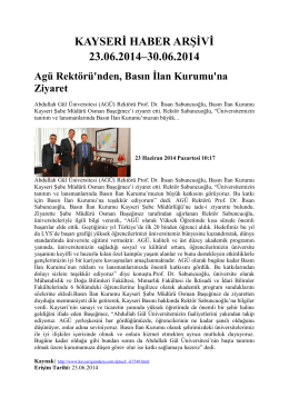 kayseri haber arşivi 23.06.2014–30.06.2014 - Kayham