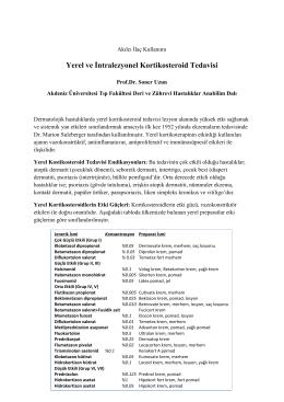 Yerel ve İntralezyonel Kortikosteroid Tedavisi
