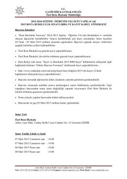 2015 RBS Bilgilendirme Yazısı
