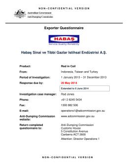 Exporter - Habas Sinai ve Tibbi Gazlar Istihsal Endustrisi A.