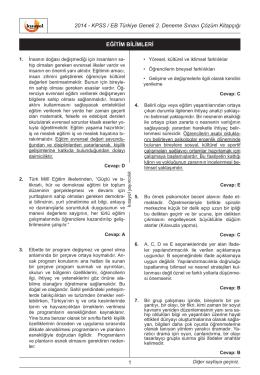 2014 - KPSS / EB Türkiye Geneli 2. Deneme Sınavı Çözüm Kitapçığı