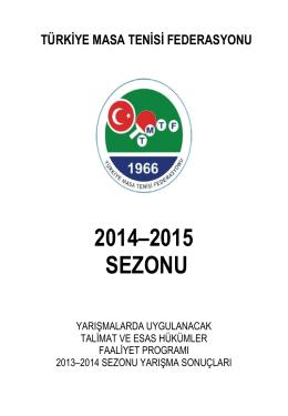 2014-2015 Sezonu Faaliyet Kitapçığı
