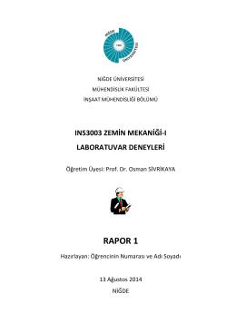 RAPOR 1 - Niğde Üniversitesi