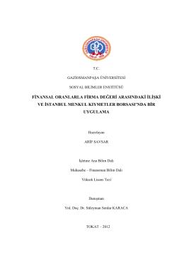 finansal oranlarla f ve istanbul menku sal oranlarla firma değeri
