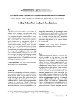 Öz Abstract Giriş Yeşil Tedarik Zinciri Uygulamaları: Alüminyum