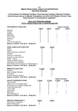 2014-2015 Yatay geçiş koşul ve kontenjanları