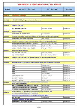 karamürsel kaymakamlığı protokol listesi