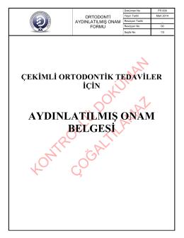 Ortodonti Aydınlatılmış Onam Formu (Çekimli) (FR 009)