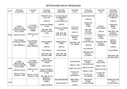 Bütünleme Sınav Programı İçin Tıklayınız