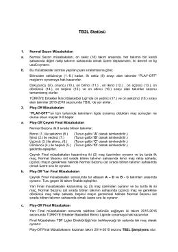 TB2L Statüsü - Türkiye Basketbol Federasyonu