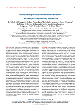 Pulmoner hipertansiyonda tedavi hedefleri