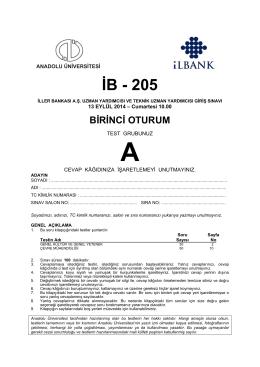 İB - 205 - Anadolu Üniversitesi Sınav Hizmetleri