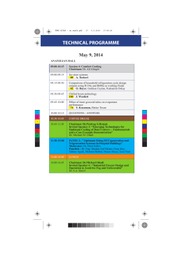 TECHNICAL PROGRAMME May 9, 2014