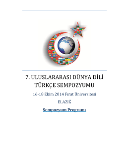 Program - VII. Uluslararası Dünya Dili Türkçe Sempozyumu
