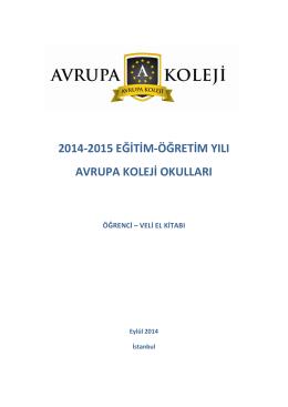 2014-2015 EĞİTİM-ÖĞRETİM YILI AVRUPA KOLEJİ OKULLARI