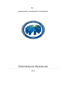 performans programı - KMÜ Strateji Geliştirme Daire Başkanlığı