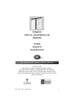 Cover - Türkiye Sosyal Araştırmalar Dergisi