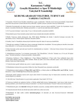 KURUMLARARASI VOLEYBOL TURNUVASI TC Kastamonu Valiliği